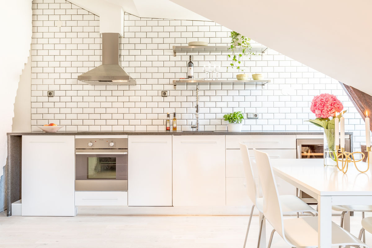 White Modern Kitchen for Small Apartment