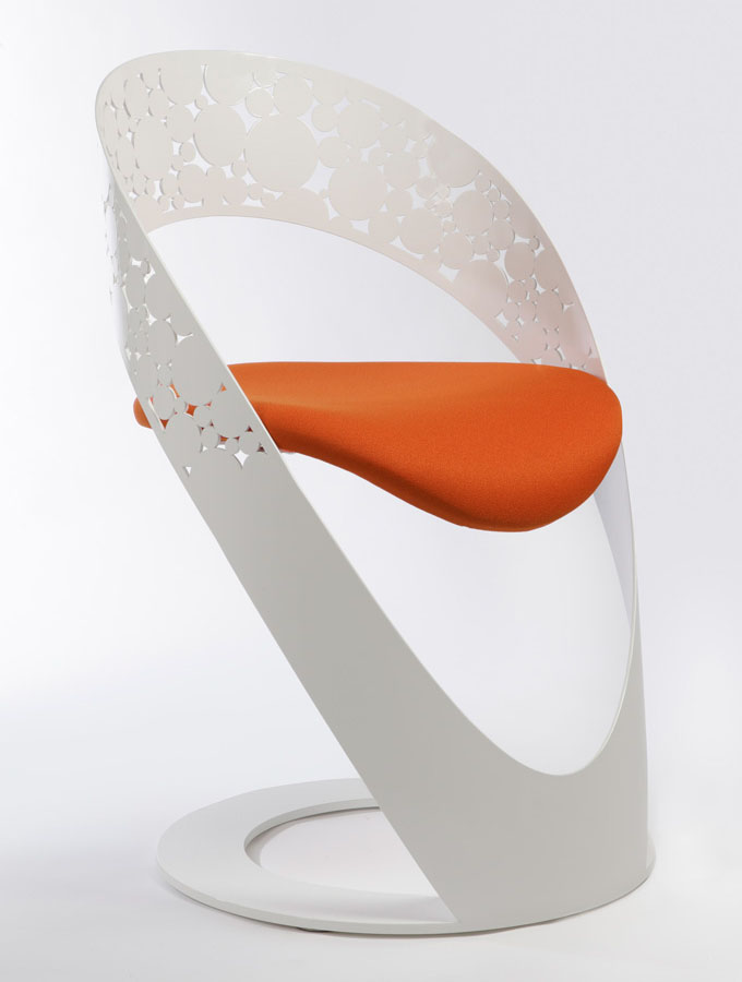 White-Lacquered-Orange-Chair