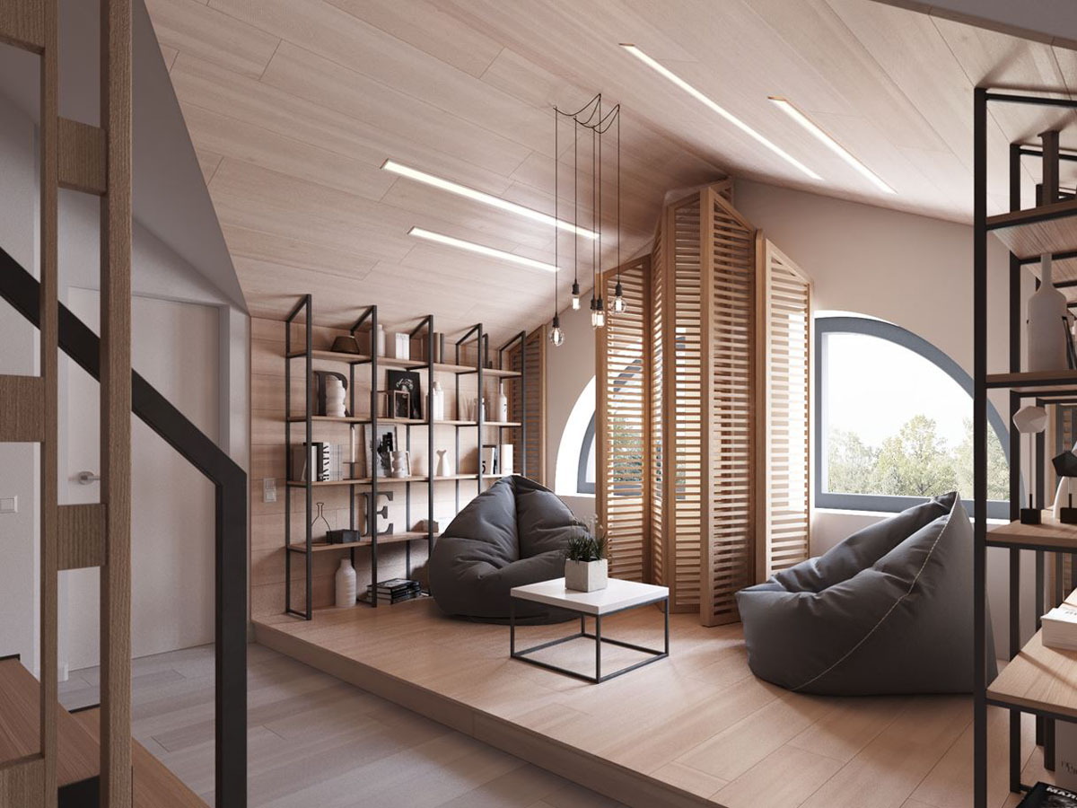 Modern Attic with Wood Screen and Arch Windows