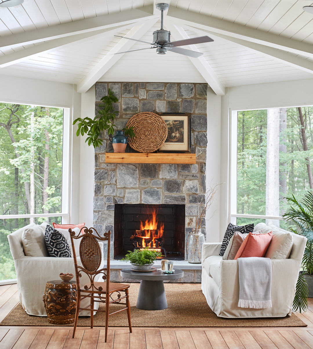 Modern Farmhouse with Stone Fireplace