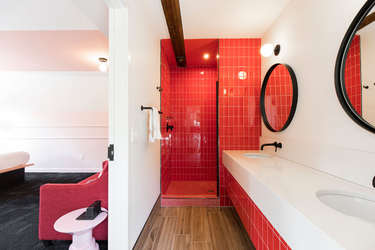 Modern Red Bathrooms