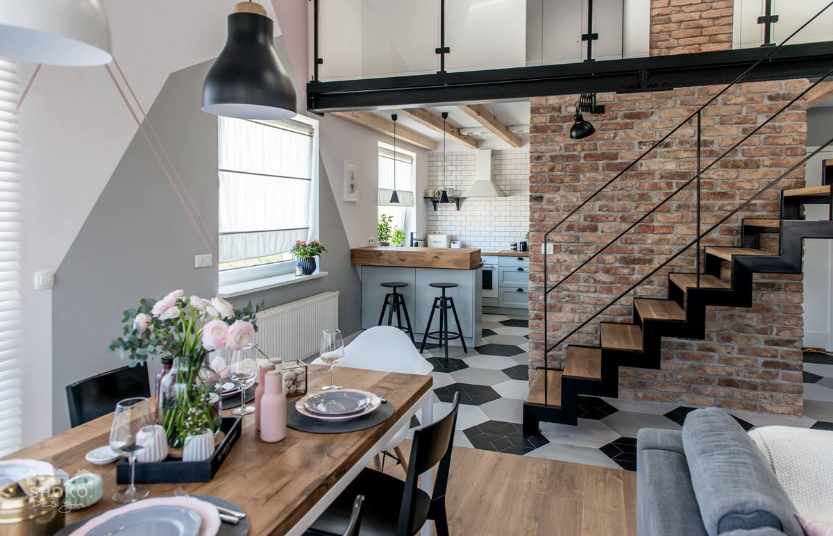 Modern ... & Loft Apartment Features Modern Scandinavian Interior with Industrial ...