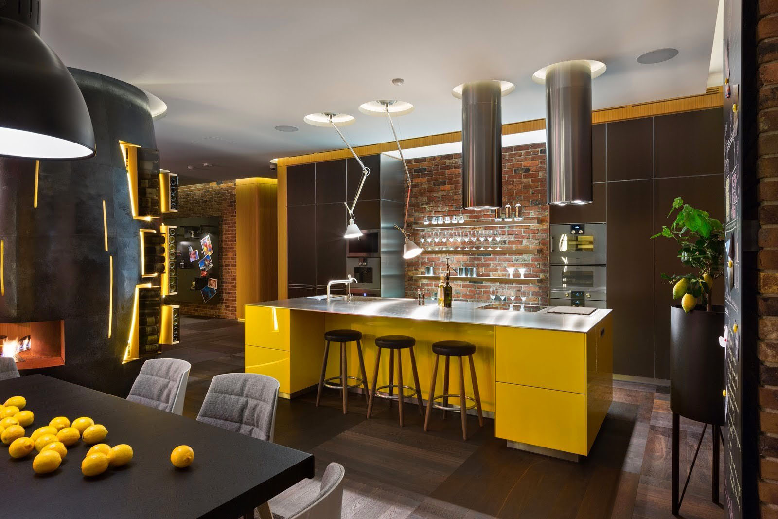 Stylish Modern Apartment with Brick Wall