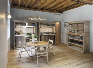 Kitchen with Wood Ceiling and Wood Flooring