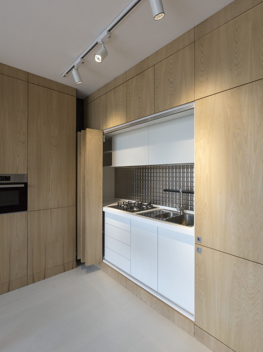 Contemporary Studio Apartment Design: Rooftop Apartment With Hidden Functional Service Spaces