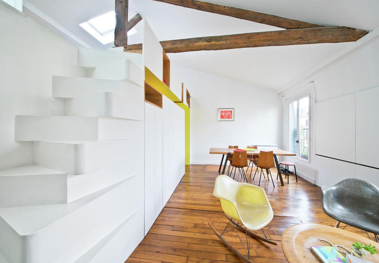Modern Attic Loft Apartment with Wood Beams