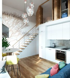 Micro Loft Apartment with Storage under the Stairs