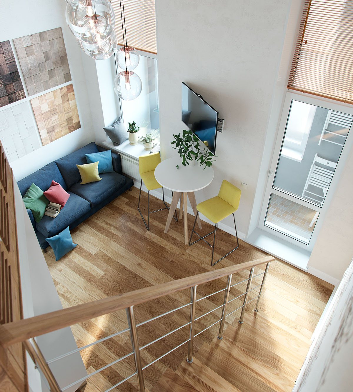 Small Loft Apartments: Small Studio Apartment In Moscow With Loft Bedroom