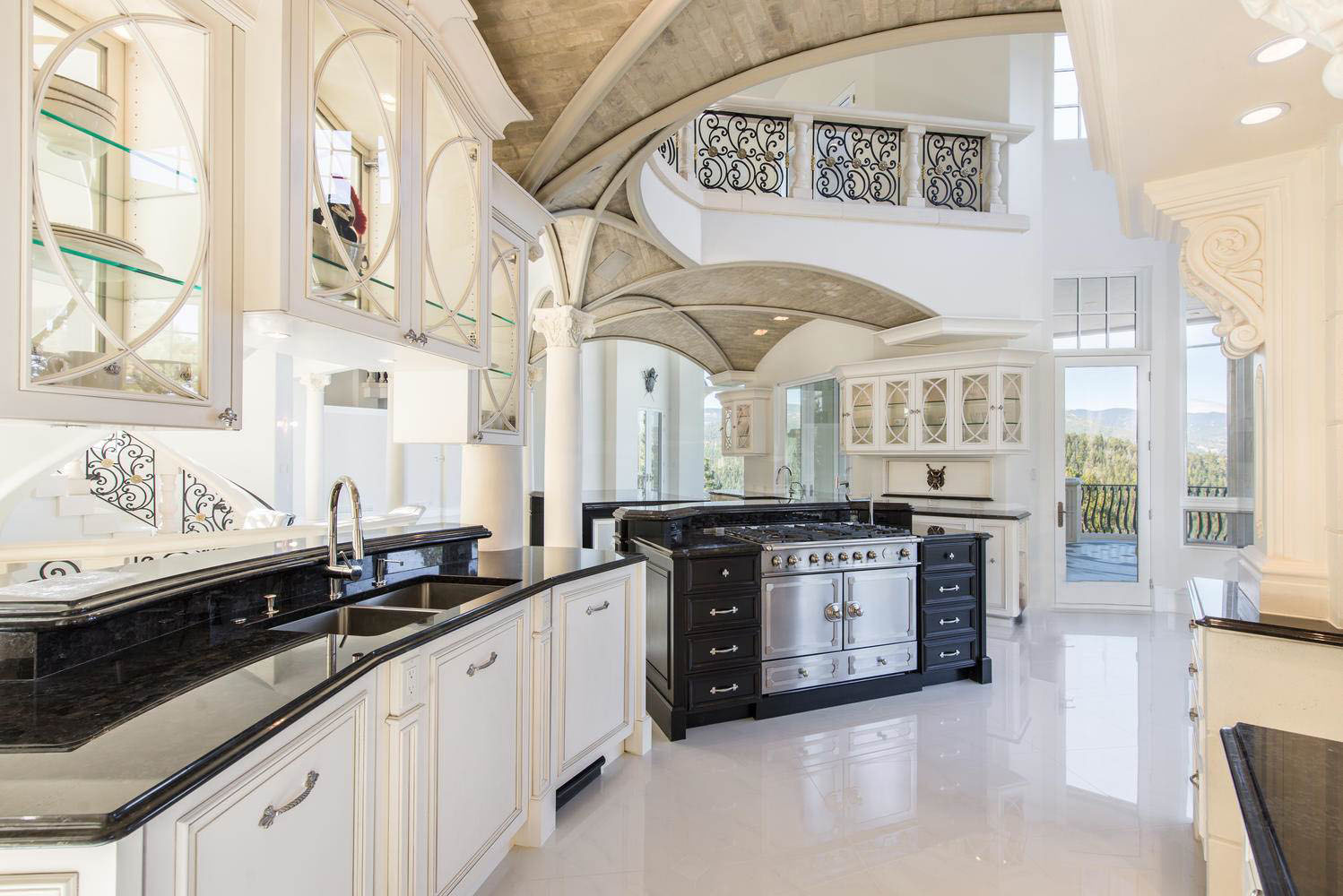 Luxury Gourmet Kitchen with Marble Floor