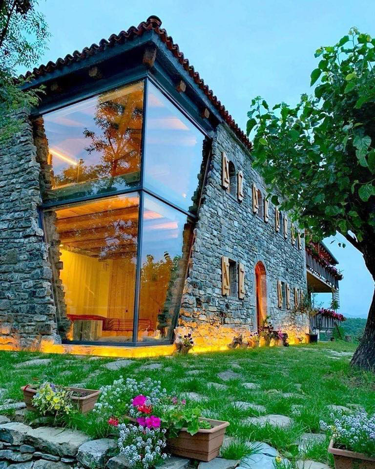 Modern Glass and Stone House