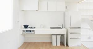 White Minimalist Tiny Kitchen