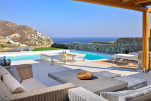 Greek Island Outdoor Terrace with Pool and Ocean View