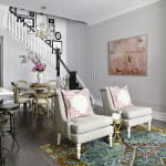 Classic West Village Townhouse With A Calming Grey Background And Fresh Color Highlights