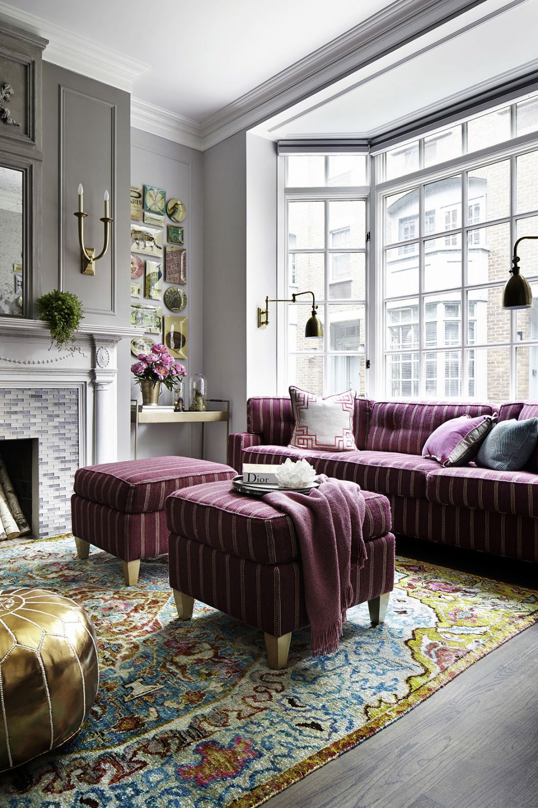 Gray with Purple Highlight Interior Decor