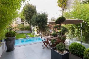 Contemporary Home Backyard Garden with Pool