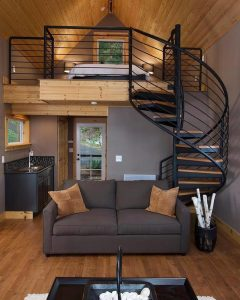 Waterfront Small Cottage Cabin with Spiral Staircase