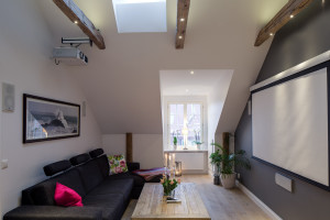Modern Apartment with Exposed Wood Beams