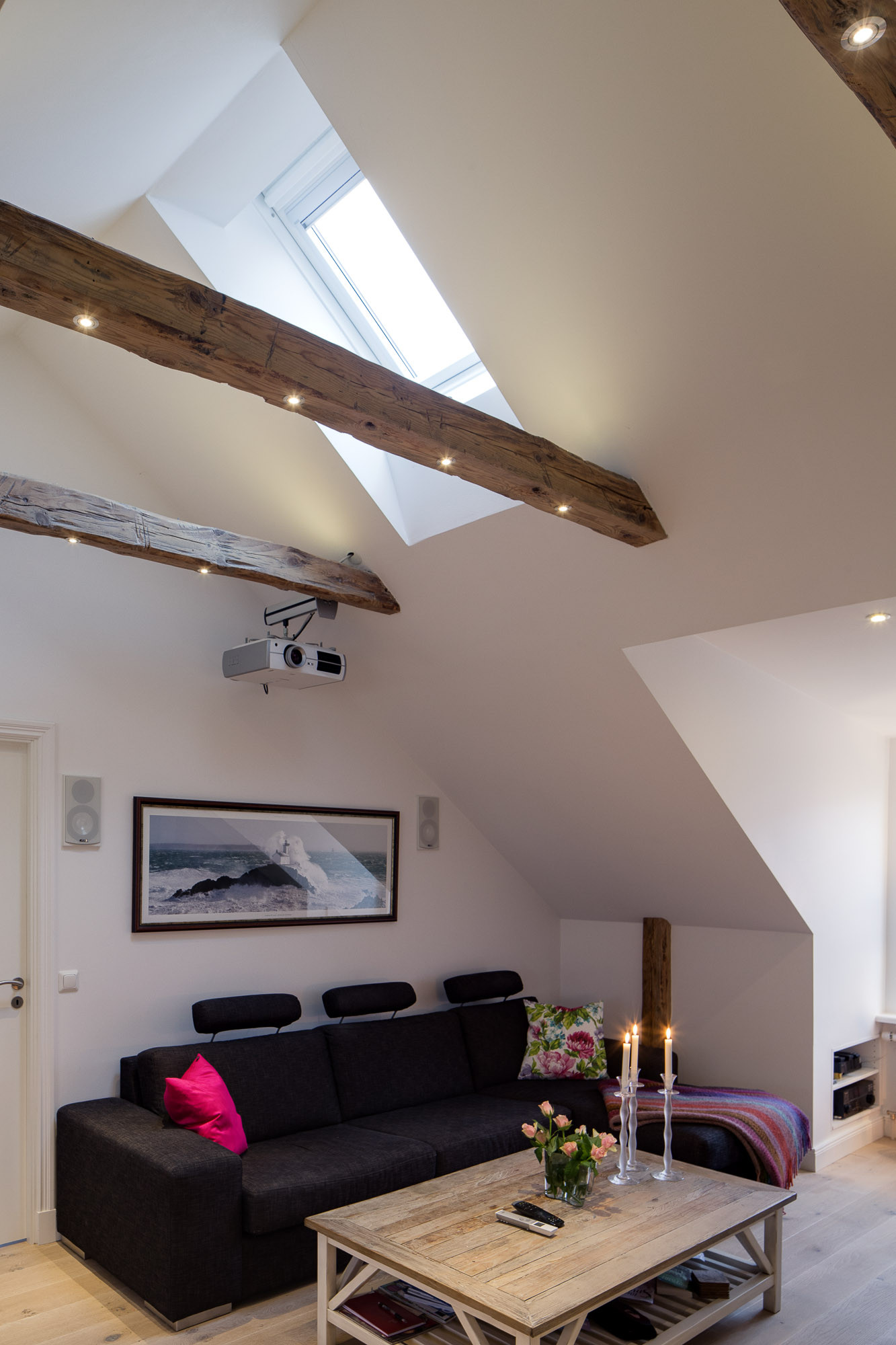 Wood Beams with Modern Lights