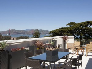 Terrace with view of Golden Gate Bridge