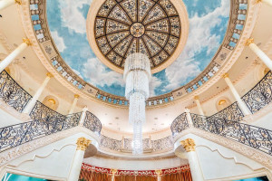 stained glass dome and chandelier