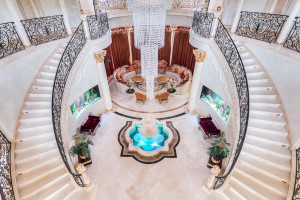 Grand Mansion Interior with Curve Staircases