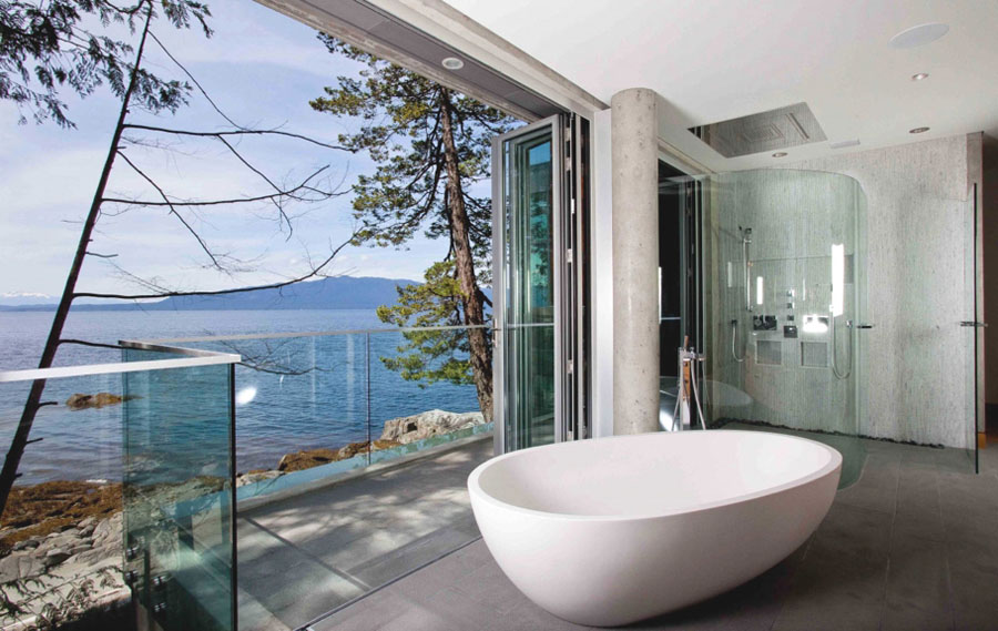 Bathroom with Water View