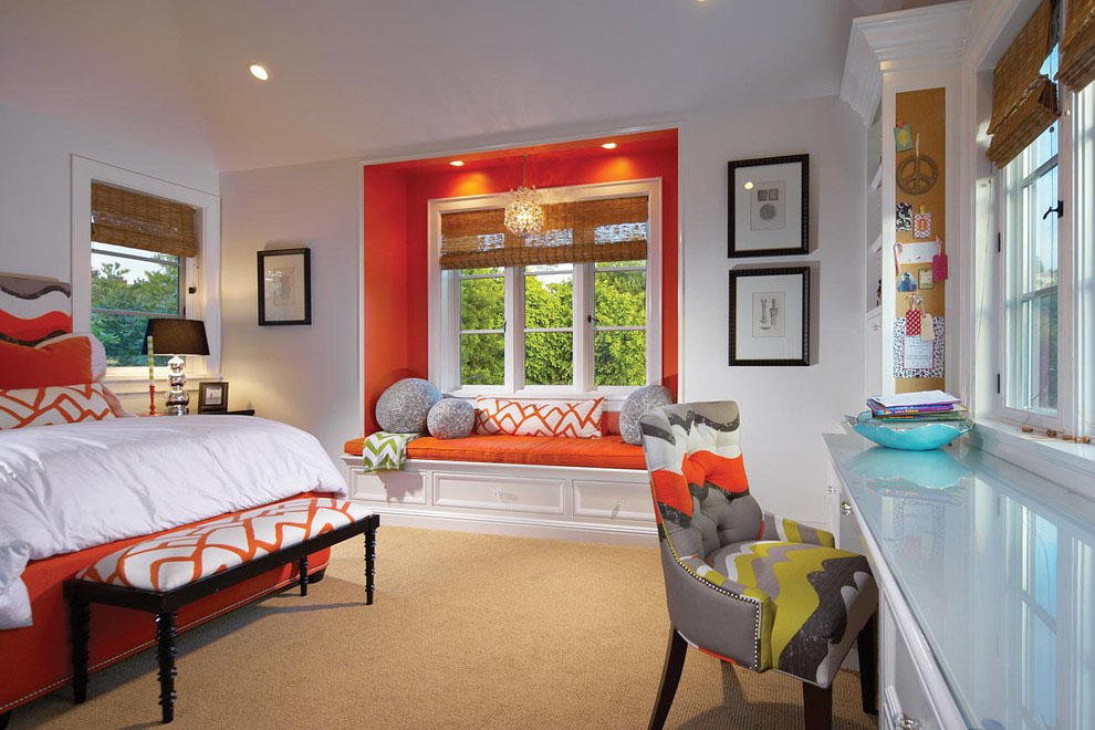 Contemporary Bedroom with Seating Bench