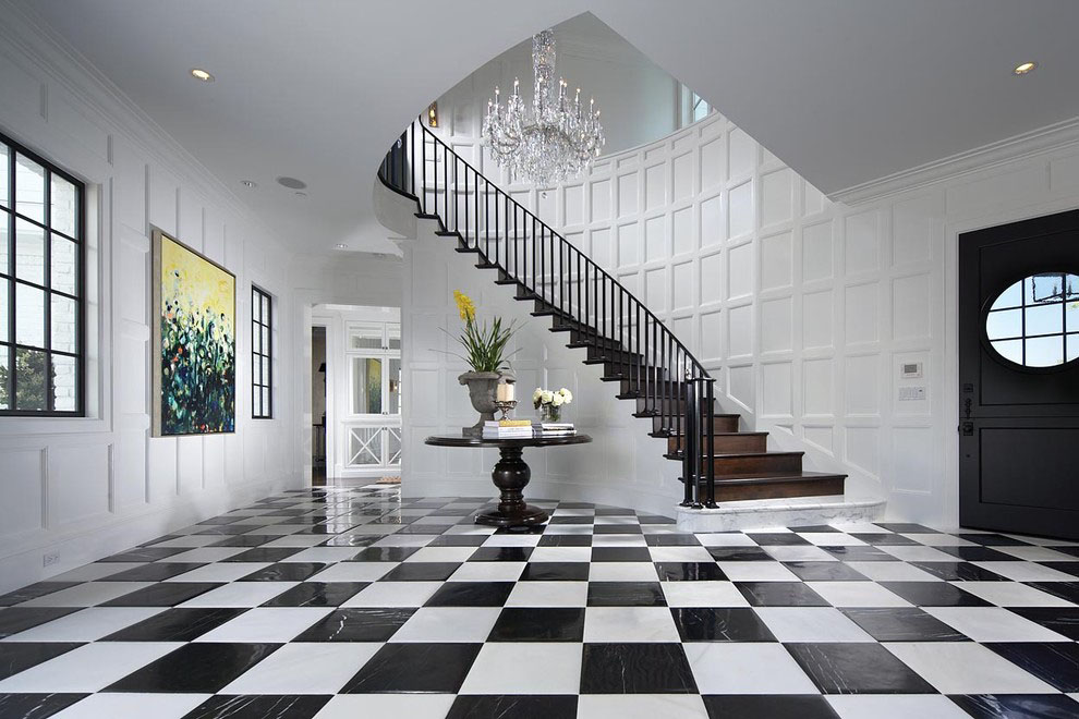 Dramatic Contemporary Curved Staircase and Checkered Floor