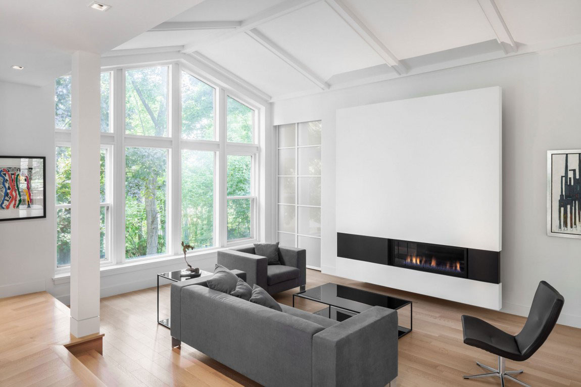 Minimalist Living Room Design with Large Modern Fireplace