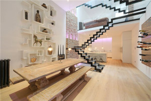 Modern Interior with Floating Glass Staircase