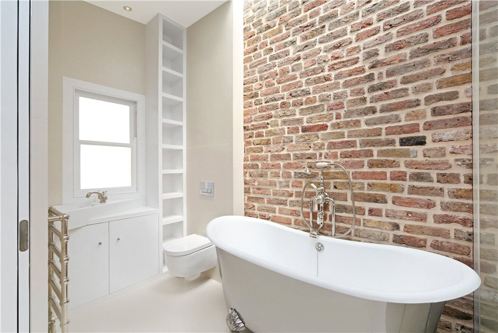Modern Bathroom with Brick Wall