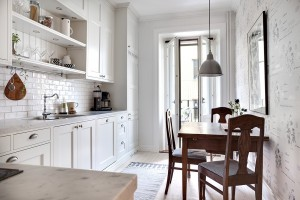 New White Kitchen Cabinet with Marble Countertop