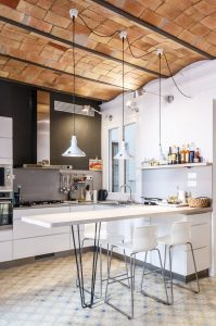 Charming Modern Kitchen with Catalan Brick Barrel Vault Ceiling