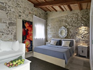 Bedroom with Rustic Stone Walls