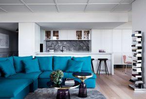 Elegant Modern Interior Decorating Ideas Blue Sofa and Black and White Backdrop