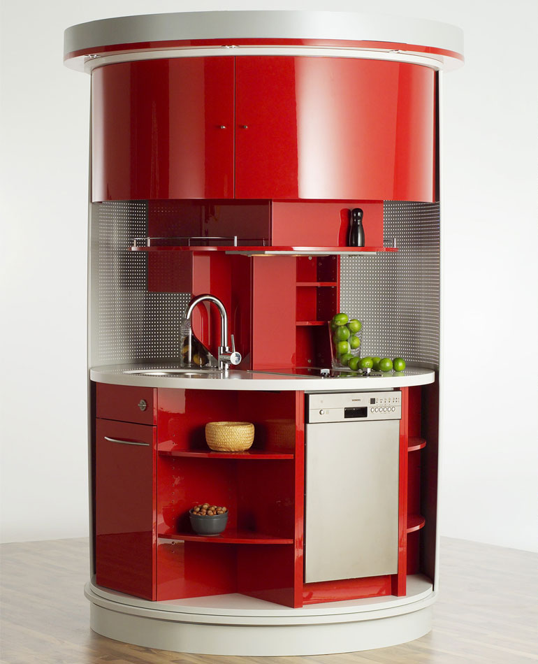 Mini Kitchen Layout: Revolving Circle Compact Kitchen