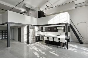 High ceilings industrial loft apartment