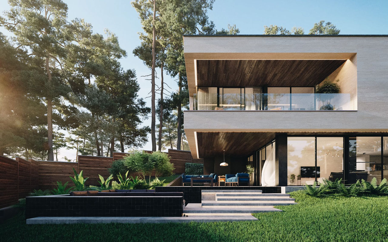 Gated Riverside Modern House In Ukraine Surrounded By