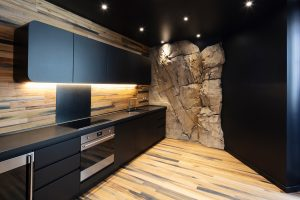 Modern Kitchen with Rock Wall