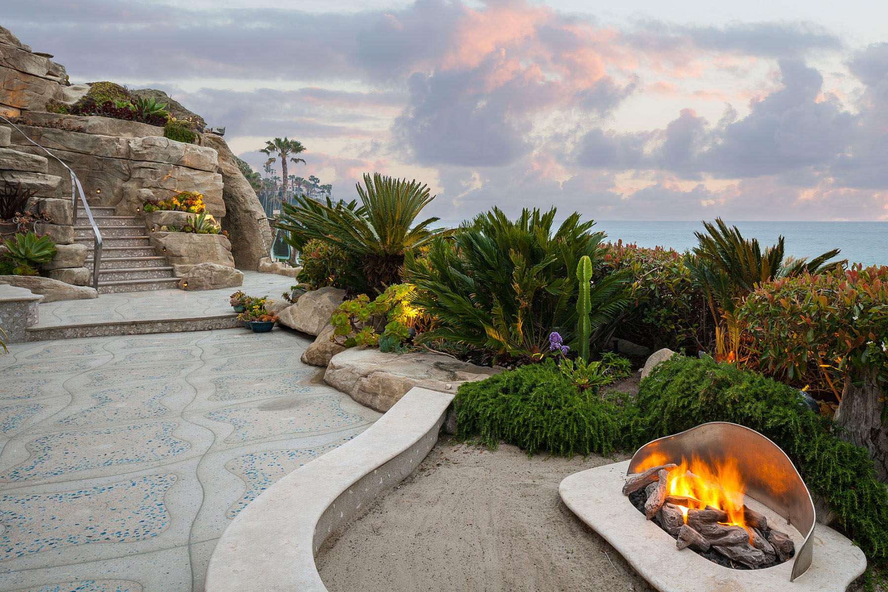 Elegant Outdoor Terrace with Fire Pit