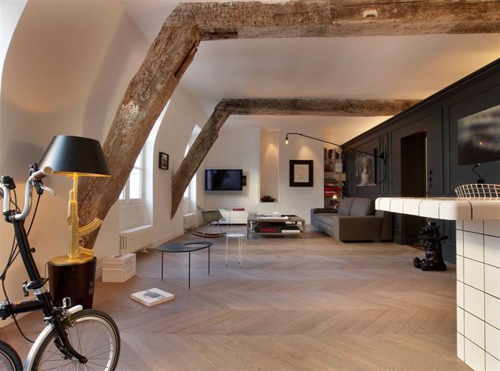 Modern Attic Apartment Paris
