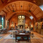 Wood Fishing Lodge Sleeping Cabin with Rustic Interior Detailing