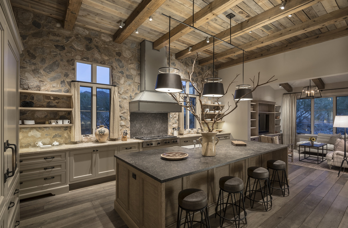 Rustic Country Style Kitchen with Stone Walls and Reclaimed Wood Beams