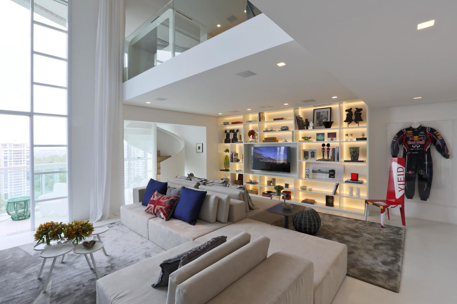 Modern Duplex Apartment with Double-Height Ceilings