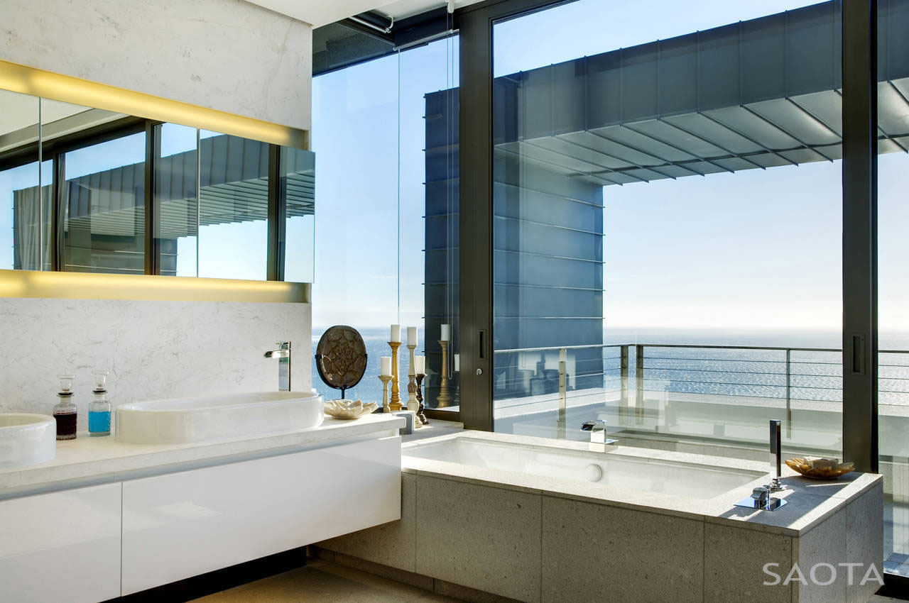 Modern Bathroom with Ocean View