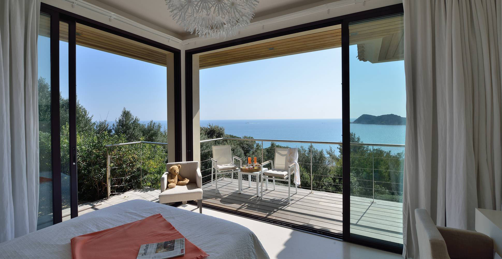 Modern French Riviera Home Ocean View Bedroom