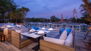 Terrace with View of Chao Phraya River and Phutthaisawan Temple