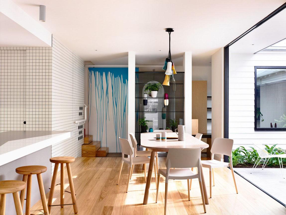 An Elegant Suburban Modern Cottage With Playful Interior