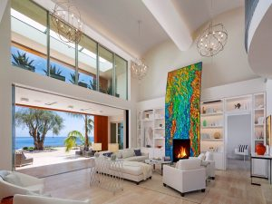 Contemporary Living Room with High Ceiling and Ocean View
