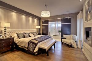 Contemporary Master Bedroom with Modern Barn Doors